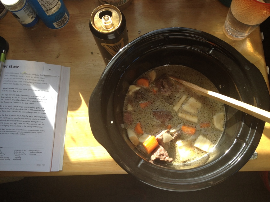 beef and brew stew--the perfect excuse for a guinness!